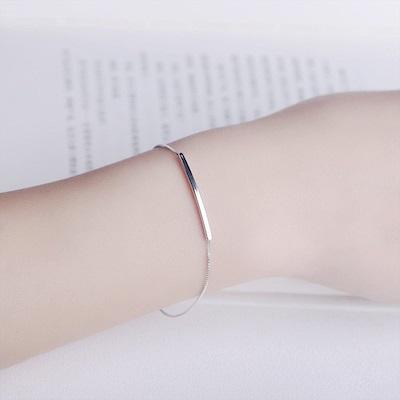 梨花HaNA 韓國925銀素銀盒式極簡手鍊