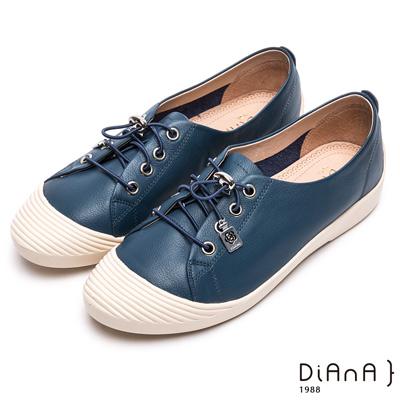 DIANA 漫步雲端焦糖美人款--免綁帶超柔軟真皮休閒鞋 –深藍