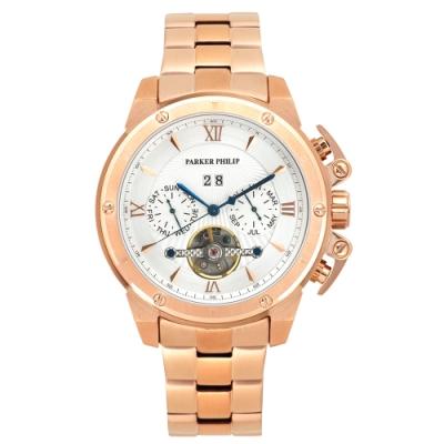PARKER PHILIP派克菲利浦豪邁尊榮機械錶(玫殻/白面/鋼帶)