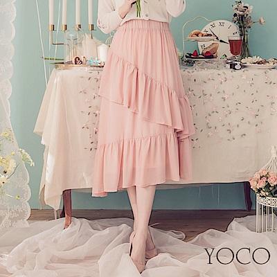 東京著衣-YOCO  onni最愛波浪層次拼接雪紡長裙-XS