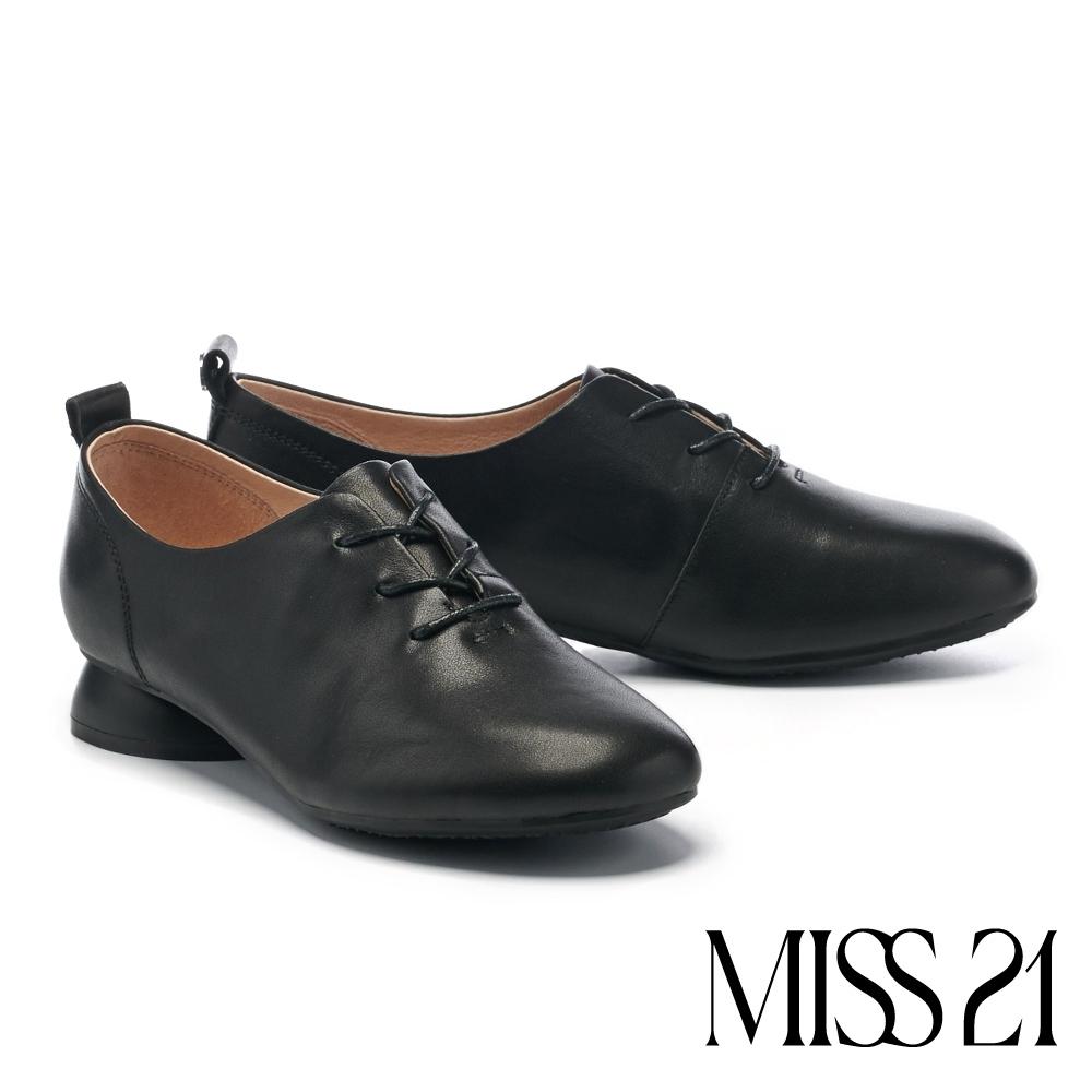 低跟鞋 MISS 21 英倫風純色百搭全真皮牛津低跟鞋-黑