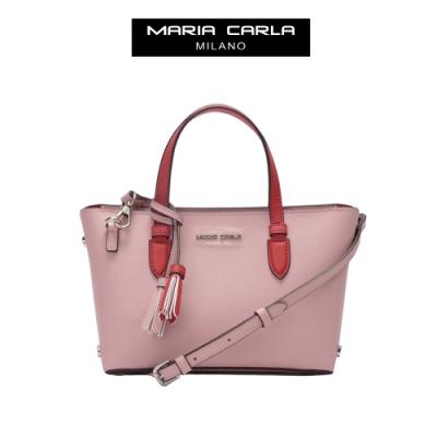 【Maria Carla】個性撞色手提側背托特包-S_珍珠粉_都會時尚系列