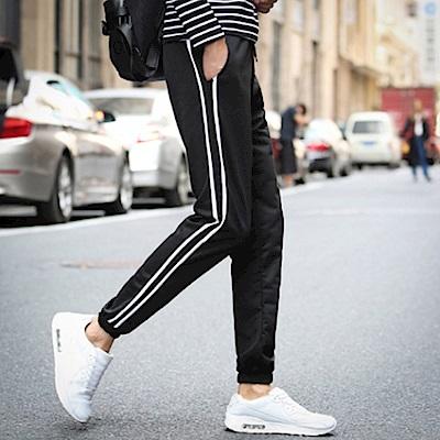 BuyGlasses 運動側直條紋縮口棉褲