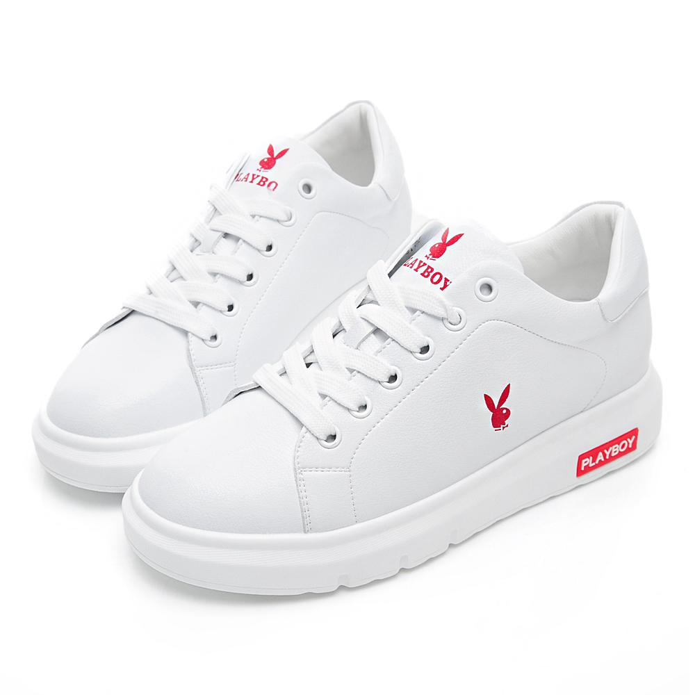 PLAYBOY 百搭極簡仿皮綁帶休閒鞋-白紅