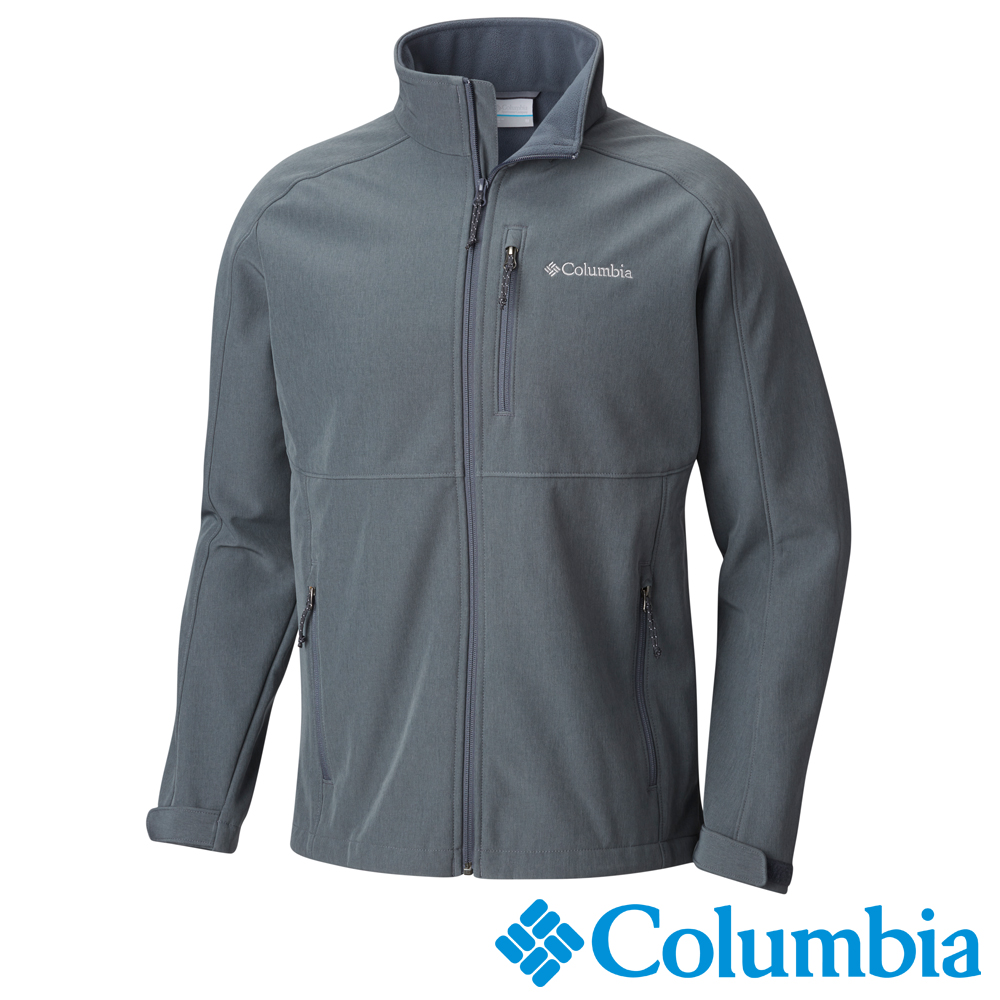 Columbia哥倫比亞 男款-立領彈性軟殼外套- 深灰 UWM12230DY