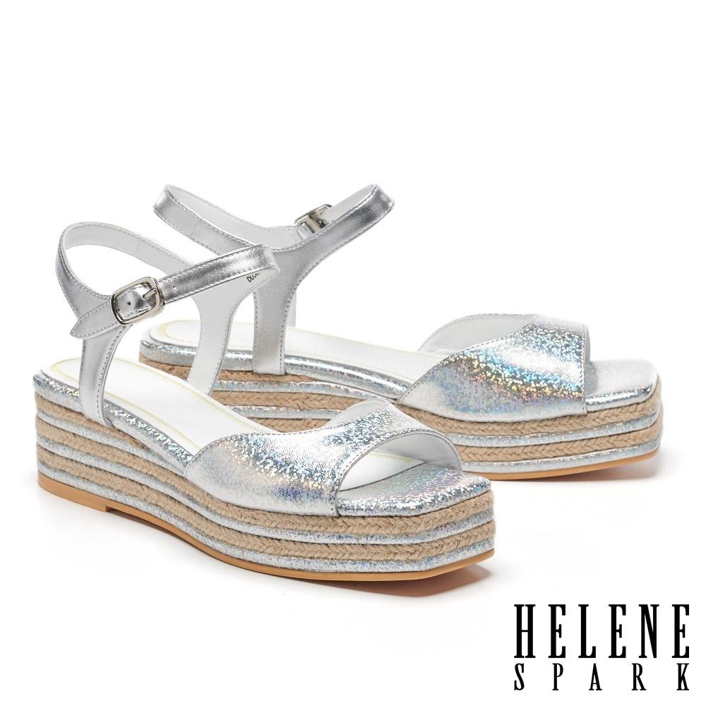 涼鞋 HELENE SPARK 簡約清新羊皮厚底涼鞋-銀