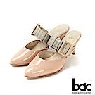 bac紐約不夜城 - 摩登復古漆皮異材質兩截式穆勒鞋 -裸粉