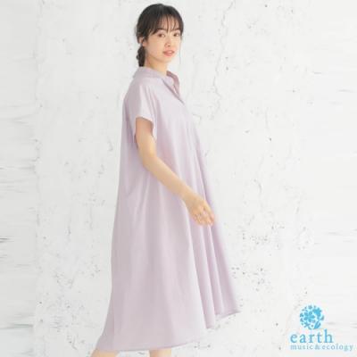 earth music 襯衫領打摺寬鬆素面連身洋裝