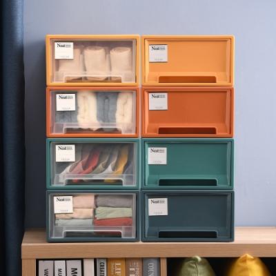 Mr.box 莫蘭迪4色可疊抽屜式內衣小物整理收納箱(4色1組)-彩色/透明可選