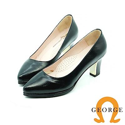 【GEORGE 喬治皮鞋】都會休閒  霧面基本款真皮跟鞋-黑