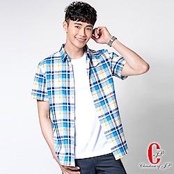 Christian 學院風棉質彈性休閒襯衫_藍黃格(RS839-55)