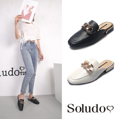 Soludos-正韓來台-復古典雅方頭低跟穆勒鞋-黑/白