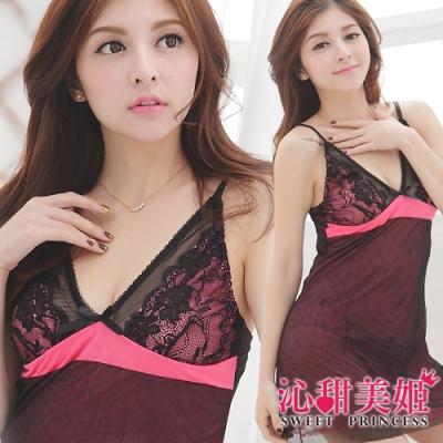 奢華網紗睡衣裙組 深V雙層美胸+裙身設計 沁甜美姬(玫)