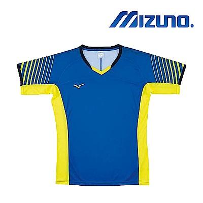 MIZUNO 美津濃 男女短袖排球T恤 藍黃 V2TA8G1821