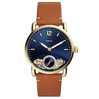 FOSSILCommuter經典復刻真皮機械錶(ME1167)-藍X金框/42mm