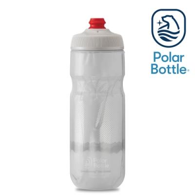 【Polar Bottle】20oz 雙層保冷噴射水壺 RIDGE 白-銀