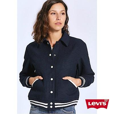 Levis 女裝 棒球外套 立體刺繡 羊毛保暖