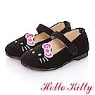 HelloKitty童鞋 高級手工超纖皮輕量減壓樂福娃娃鞋-黑