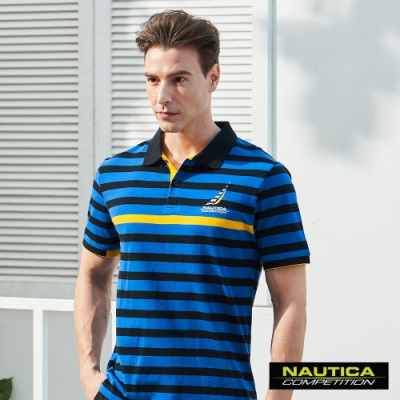 Nautica COMPETITION經典條紋POLO衫-藍色