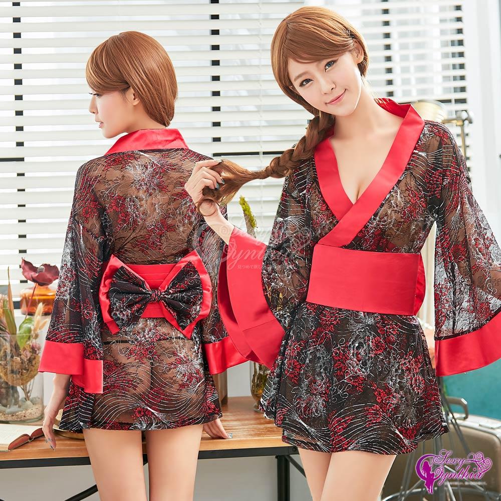 Sexy Cynthia角色扮演 黑紅撞色日式和服角色扮演服三件組-紅F