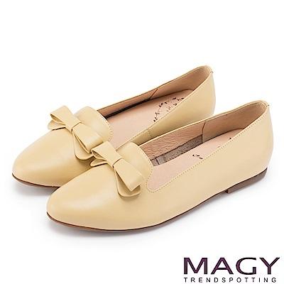 MAGY 甜美混搭新風貌 蝴蝶結牛皮平底便鞋-黃色