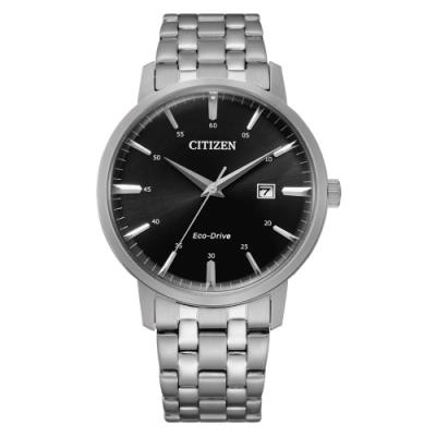 CITIZEN GENT S光動能卓越生活時尚腕錶-銀X黑(BM7460-88E)40mm