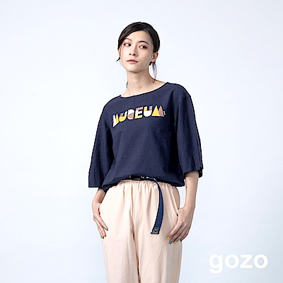 gozo 設計字母印花五分袖短版上衣(二色)