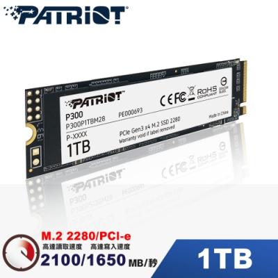 (6/20前再送3%超贈點)Patriot美商博帝 P300 1TB M2.2280 PCIe SSD固態硬碟