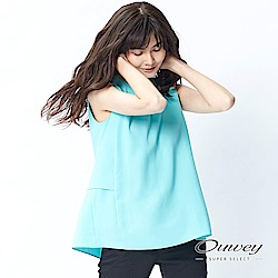OUWEY歐薇 百搭雙層素面上衣(黑/水)-動態show