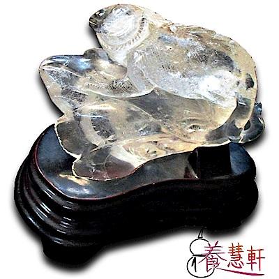 養慧軒 特清透 天然白水晶巧雕 變色龍+太陽花+木底座(重835公克)