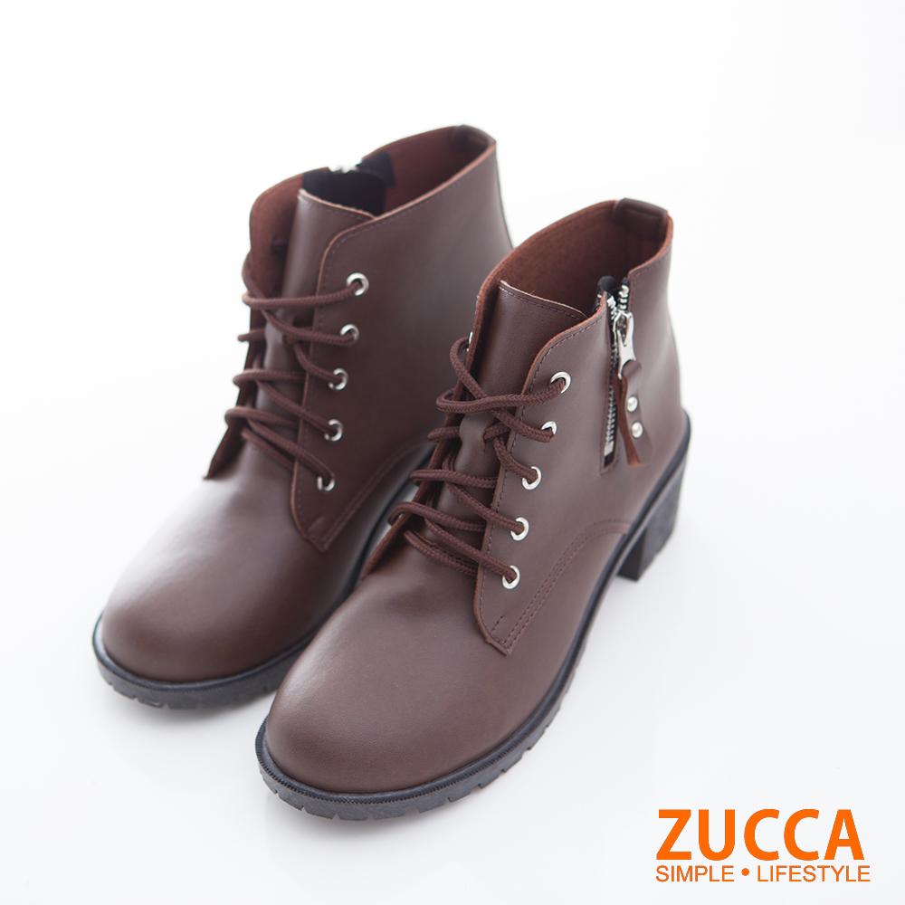 ZUCCA-率性綁繩拉鍊低跟靴-棕-z6706ce