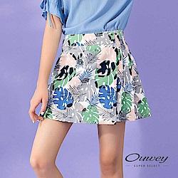 OUWEY歐薇 夏日棕櫚葉印花壓褶褲裙(藍)