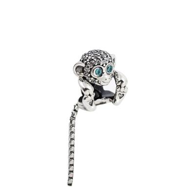 Pandora 潘朵拉 俏皮鑲鋯小猴子 純銀墜飾 串珠