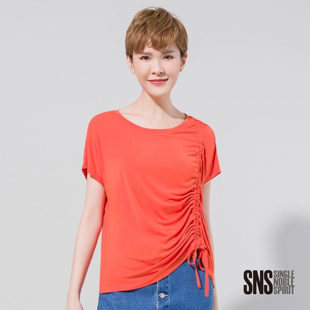 SNS 不對稱抽繩抓皺設計款T恤(2色)