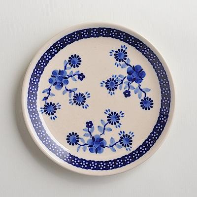 波蘭陶手工製 歐式青花 淺底圓形餐盤19cm
