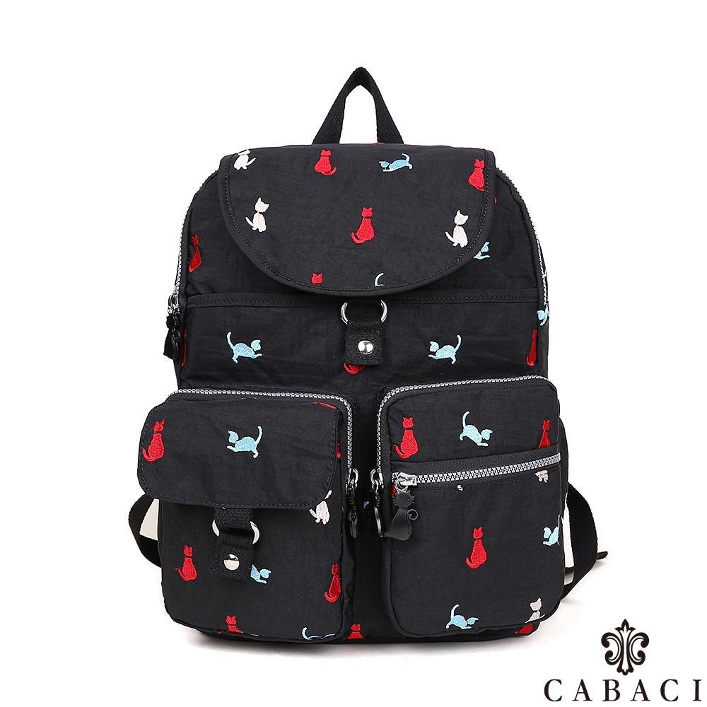 CABACI 淘氣小貓繡線防潑水大容量後背包