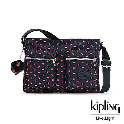 Kipling 斜背包 紅黃幾何印花 -中