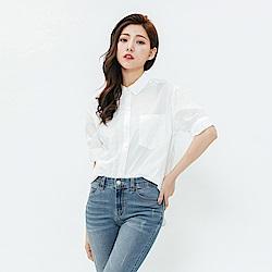 H:CONNECT 韓國品牌 女裝-繡花特色短袖襯衫-白