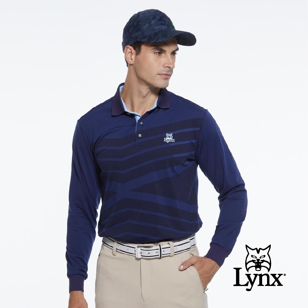 【Lynx Golf】男款內刷毛保暖個性線條感經典山貓織標長袖POLO衫-深藍色