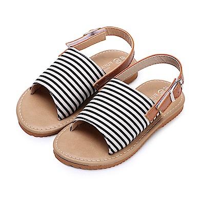 BuyGlasses 日系經典條紋兒童涼鞋-黑