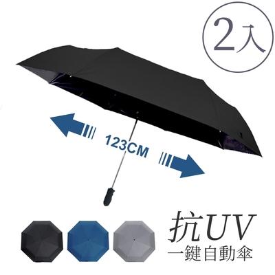 樂生活嚴選 54吋超大一鍵自動傘2入(全遮光黑膠抗UV防曬晴雨傘折疊傘)