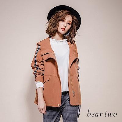 beartwo 宮廷公主風微立領緹花拼接造型襯衫上衣(二色)