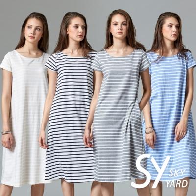 【時時樂】SKY YARD 天空花園-都會休閒條紋修身短袖洋裝-四色