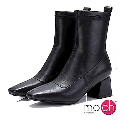 mo.oh-彈力皮革復古方頭粗跟短靴-黑色