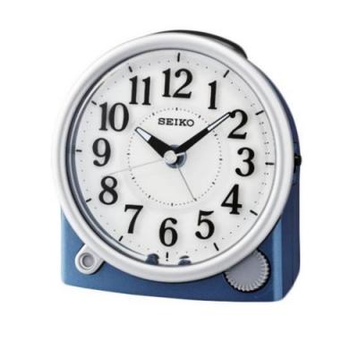 SEIKO 精工 滑動式秒針 嗶嗶聲 靜音 貪睡鬧鐘(QHE176L)藍/12X11cm