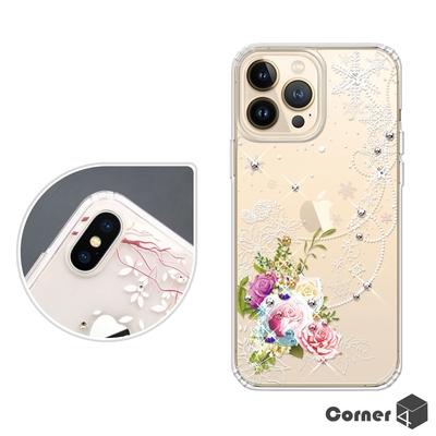 Corner4 iPhone 13 Pro Max / 13 Pro / 13 奧地利彩鑽雙料手機殼-緋雪薔薇