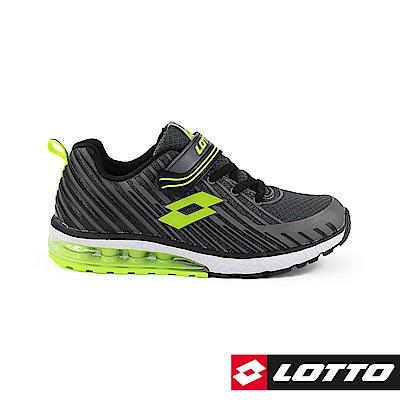 LOTTO 義大利 童 疾風 KPU氣墊跑鞋 (灰綠)