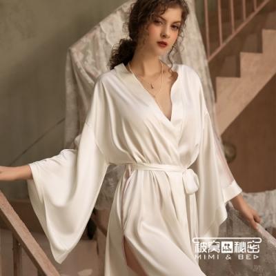 性感睡衣 法式優雅簡約清新絲滑睡袍。白色 被窩的秘密