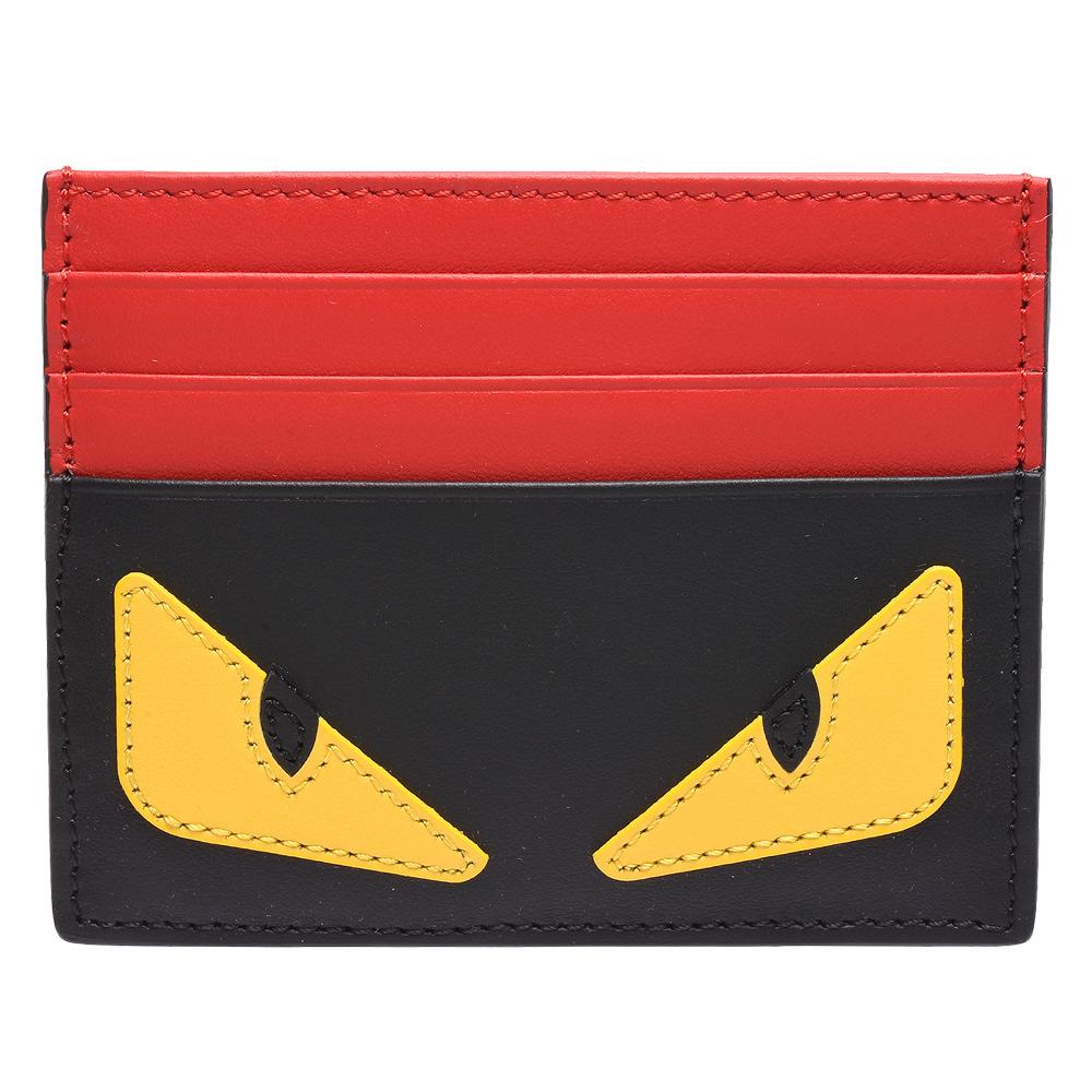 FENDI 經典BUGS系列小毛怪造型小牛皮萬用票卡/證件名片夾(紅X黑)