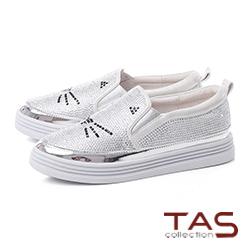 TAS水鑽貓咪造型厚底懶人休閒鞋-太空銀